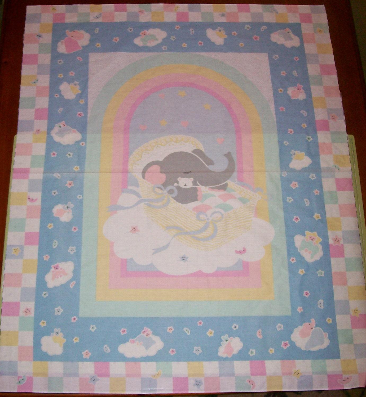 A wonderful baby elephant in a bassinet nursery fabric panel for Baby nursery fabric