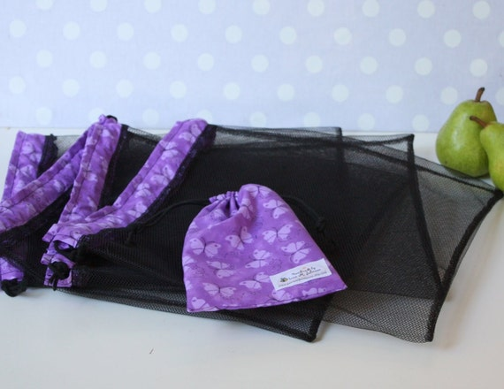 Set of 4 REUSABLE PRODUCE BAGS with Storage Pouch flutter by butterfly