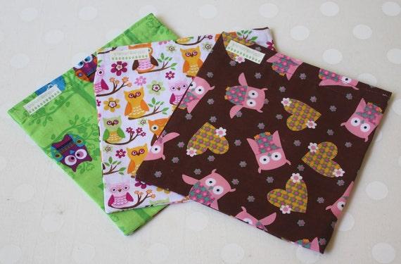 OWL LOVER Set of 3 Reusable Sandwich Bags SALE