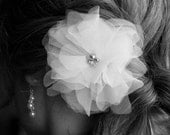 Swarovski Pearl and Crystal Bridal Hair Flower, White Organza