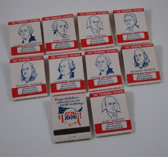Vintage 1976 Founding Fathers Matchbooks