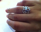 Silver Lichen Drawing Ring
