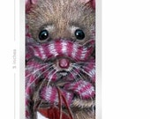 Laminated Bookmark 2x5 Rat cold wearing scarf and mittens Art