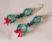 Tribal Princess Turquoise and Coral Earrings