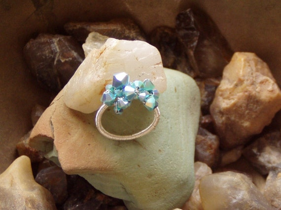 Turquoise Crystal Cascade Ring