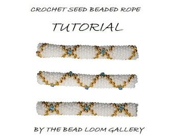 Beaded Rope Pattern - PDF File Tutorial - Crochet Seed Beaded Rope with Swarovski Crystals - Golden Lace 2