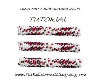 PDF File Tutorial - Crochet or Peyote Seed Beaded Rope PATTERN - Pepper Garland  PDF File Tutorial