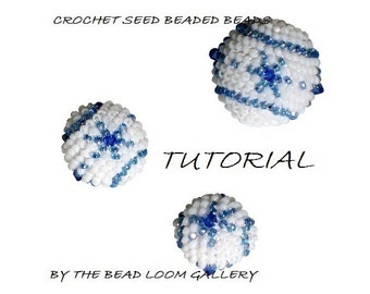 Crochet Seed Beaded Beads TUTORIAL Snow Crystals - PDF file