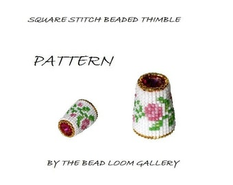 Beaded Thimble with Swarovski Rivoli Top - Delica Beads PDF PATTERN - Square Stitch - Vol.7 - Climbing Roses Thimble