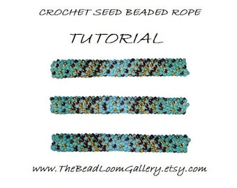 PDF File Tutorial - Crochet Seed Beaded Rope PATTERN - Turquoise Mosaic