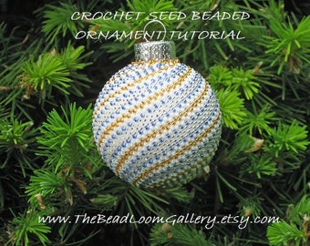 Beaded Christmas Ornament - Crochet PDF File TUTORIAL - Vol.3 - Golden Spiral