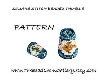 Beaded Thimble with Swarovski Rivoli Top Vol.12 - Seashore Thimble - PDF PATTERN -Square Stitch