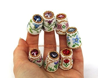 Made to Order - Pick One - Beaded Thimble with Swarovski Rivoli Top - You Choose