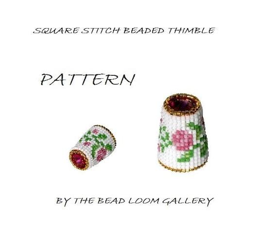 Beaded Thimble with Swarovski Rivoli Top - Delica Beads PDF PATTERN - Square Stitch - Vol.7 - Climbing Roses Thimble