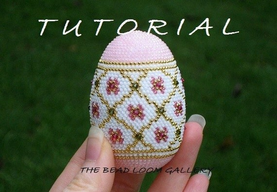 Beaded Easter Egg with Swarovski Crystals - Crochet PDF File TUTORIAL - Vol.3 - Golden Net