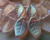 50 Beautiful Czech Glass Translucent Rose Pink Matte AB Leaf Beads   Size 9x14