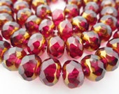 25 Czech Glass Fire Polish Faceted Rondelle Beads in Fuschia with Copper ends  Size 9x6mm