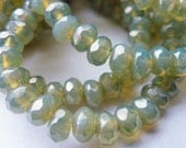 30 Dusty Mint Green Opal Fire Polish Roundel Glass Beads with Luster finish 4x5mm Size