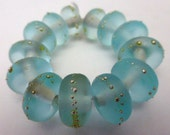 MADE TO ORDER  13 Handmade Glass Beads in Matte Translucent Sea Blue and Fine Silver by Sarah Klopping