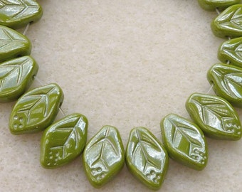 25 Czech Glass Leaf in Opaque Wasabi Green Luster in 12x7mm