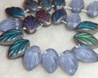 50 Czech Glass Leaves in Lavender Vitrail Matte  12x7mm
