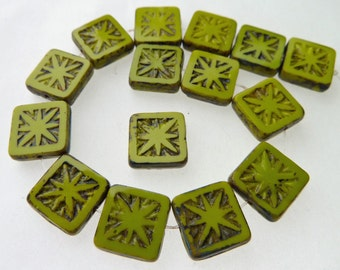 15 Czech Glass Square Beads in Opaque Wasabi Green with Picasso Star Center Size 10.5mm Square
