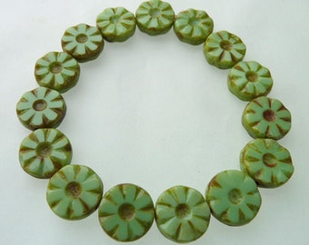 15 Czech Glass Round Flat Flower Beads in Opaque  Green Light with Picasso