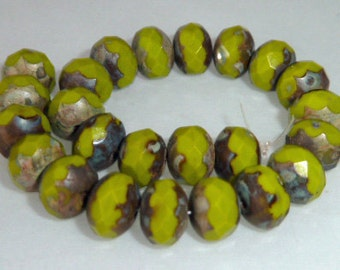 25 Czech Glass Fire Polish Roundel Beads in Opaque Wasabi Green with Diffusion  9x6mm Size