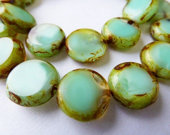15 Czech Glass Flat Round Disc Beads in Light Sea Green Opal with Picasso Edges  Size 11mm
