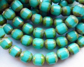 25 Czech Glass Fire Polish  Opaque Green Turquoise Barrel  with a Picasso Finish  5.5xx6mm