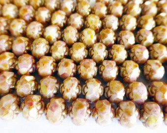 25 Czech Glass 6mm Fire Polish Round Rose Beads in a Opaque Rose Gold Picasso Color