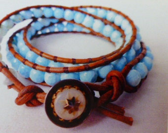 Tutorial on Maui Leather Wrapped Bracelet with Shipping Included only for US States, Hawaii and Alaska