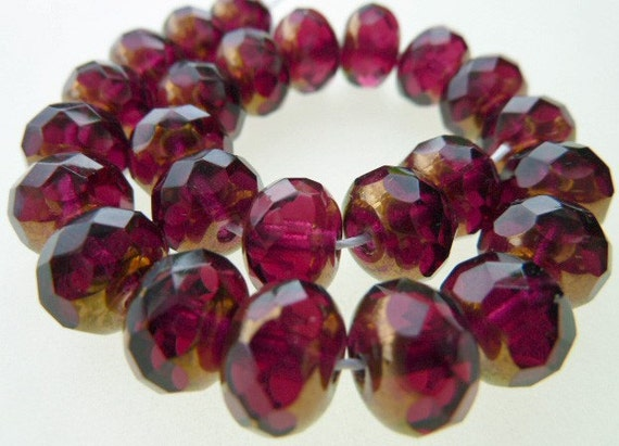25 Czech Glass Fire Polish Donut Beads in Fuschia with Copper ends  Size 9x6mm