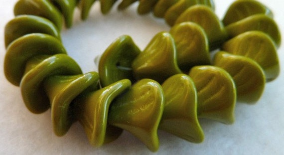 25 Czech Glass Bell Flower Beads in Opaque Olive   10x12mm
