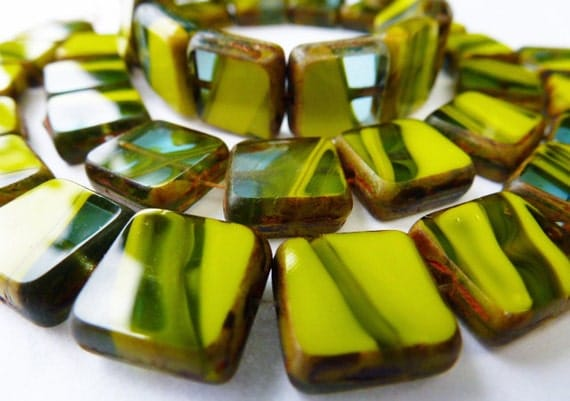 15 Czech Glass Squares in Opaque Olive Green with Aqua Blue Translucent Striations with Picasso edging