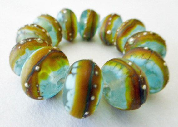 12 Handmade Glass Beads in Matte Translucent Sea Glass Blue, Frit, Multi Colors and Fine Silver by SRA Sarah Klopping