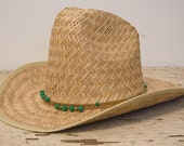 Vtg western Mexican Straw Hat with Bead Detail