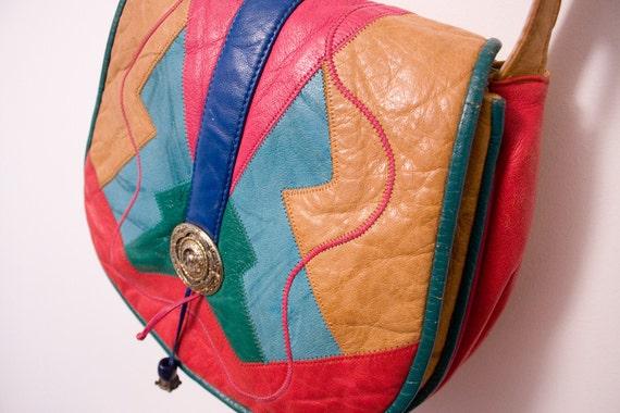 Vintage 80s Leather Patchwork Tribal Aztec Purse Bag