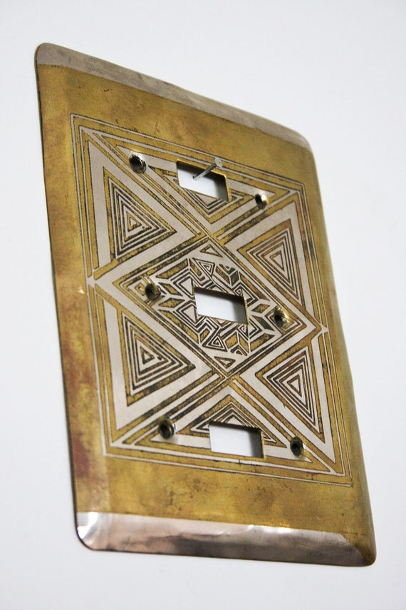 Vintage Laughran Art Deco Aztec Metal Switch Plate Cover