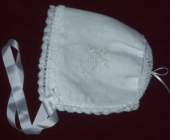 WHITE Linen Magic HANKY BONNET Hand Crochet Lace Converts to Wedding Handkerchief  Embroidered with White Cross