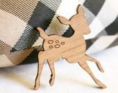 oh deer large wooden brooch