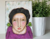 CHRISTMAS SALE - Mixed media Original whimsical girl folk art painting on canvas board - Fly Free