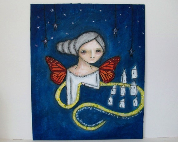 Dream Weaver - Original whimsical painting on 12x10 inch canvas board