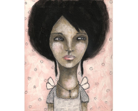mixed media art girl with key whimsical original painting - The keeper of secrets