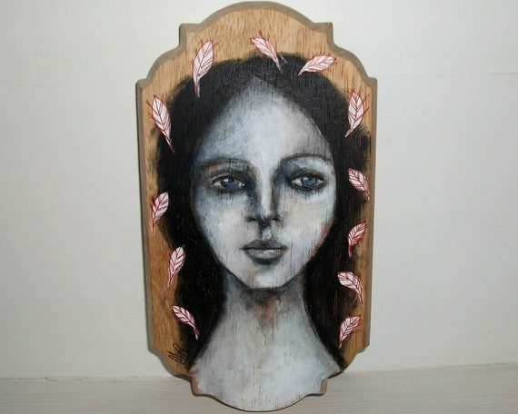 SALE whimsical folk art mixed media original girl leaves painting on wood plaque - New Beginnings