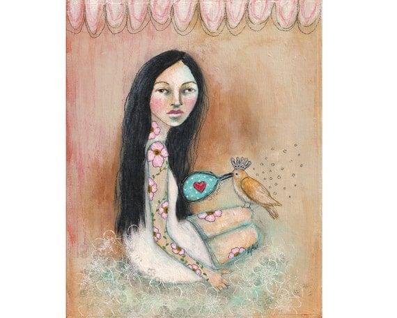SALE folk art tattoo girl original whimsical bird painting on 8x10 inch canvas board - Whisper