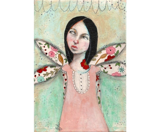 Original painting tattoo girl whimsical mixed media folk art A5 canvas board - Handle with care