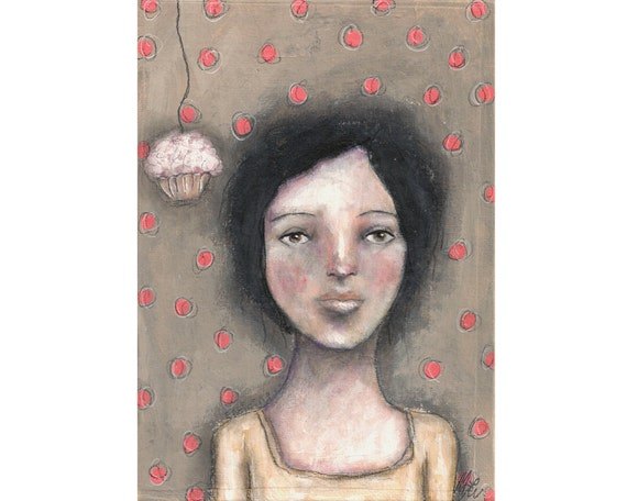Original art mixed media girl whimsical cake folk art painting 5x7 inch canvas board - Enticing
