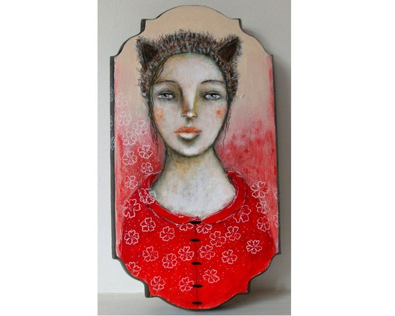 SALE Whimsical art folk art little red riding hood original painting Mixed media flowers girl painting on wood plaque - Once upon a time