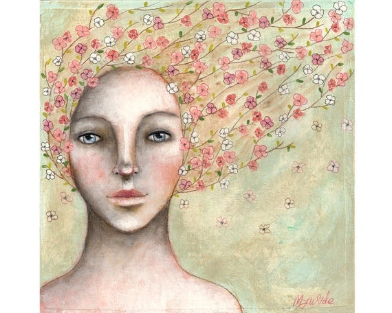 Original art flowers mixed media nature folk art whimsical girl painting on 8x8 inch canvas board - Blossom